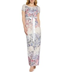 adrianna papell metallic floral matelasse column gown, size 4 in champagne multi at nordstrom