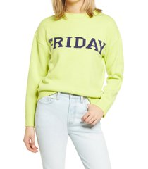 women's english factory weekday motif sweater, size medium - green