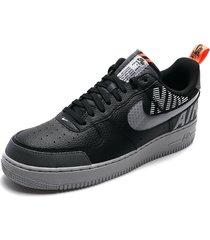 tenis lifestyle negros-plateados nike air force 1 o7 lv8 2