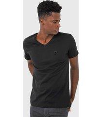 camiseta tommy hilfiger logo preta - preto - masculino - algodã£o - dafiti
