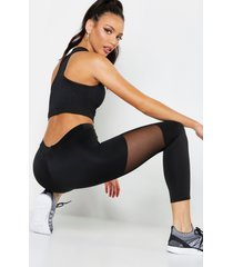 fit basic mesh panel high waisted legging, black