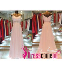 blush prom dress,pale pink prom gown,v neck evening/party formal dresses r315