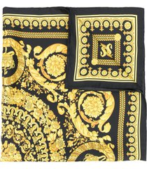 versace barocco print scarf - black