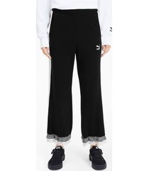 puma x tyakasha knitted culottes voor dames, zwart, maat xl