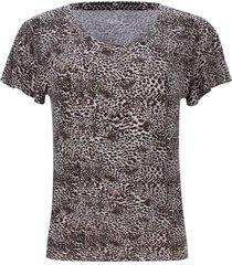 camiseta mujer estampada animal print color negro, talla 10