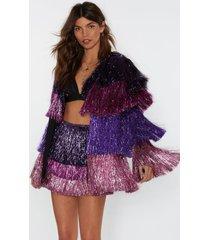 womens party crasher multicolored fringe jacket - pink