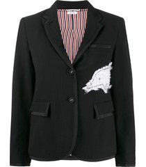 thom browne embroidered dolphin textured blazer - black