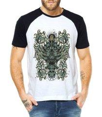 camiseta criativa urbana raglan totem tribal caveiras