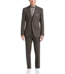 paisley & gray slim fit suit separates coat olive & brown plaid