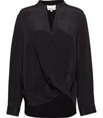long sleeved collarless soft draped sleeved blouse blus långärmad svart 3.1 phillip lim