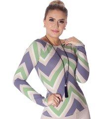 blusa ficalinda manga longa estampa exclusiva zig zag azul e verde decote canoa
