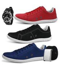 kit 3 pares de sapatênis casual sapatofran street com relógio e cinto masculino