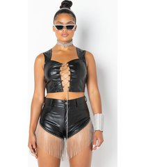 akira shake a tail feather faux leather blouse
