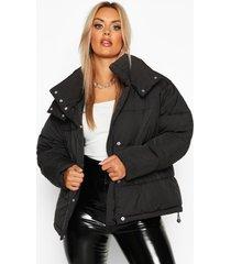 plus gewatteerde jas met hoge kraag, zwart