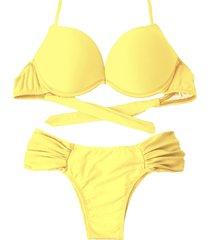 biquíni bojo bolha alça estreita divance calcinha lateral dupla franzida amarelo