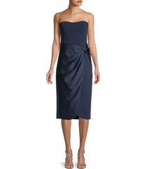 jonathan simkhai women's draped strapless dress - midnight - size 2