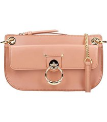 chloé tess mini shoulder bag in rose-pink leather