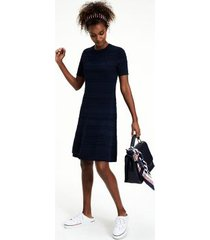 tommy hilfiger women's fit and flare pointelle dress navy - xl