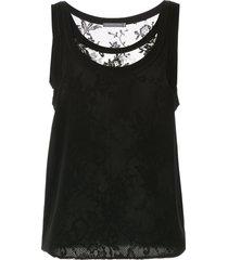 alexander mcqueen layered lace vest top - black