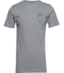 alder owl chest tee - gots/vegan t-shirts short-sleeved grå knowledge cotton apparel