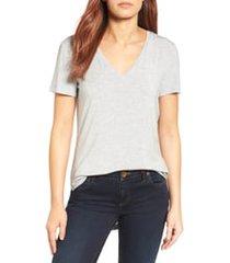halogen(r) v-neck tunic t-shirt, size medium in heather grey at nordstrom