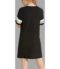 negro redondo cuello camisetas de manga corta vestido