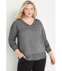 maurices plus size womens solid v neck sweatshirt gray