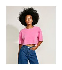 t-shirt oversized cropped de algodão manga curta decote redondo mindset rosa