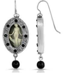 2028 grecian muse cameo with black crystal and bead earrings