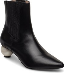 roxanne black boot with pearl heel shoes boots ankle boots ankle boot - heel svart mother of pearl