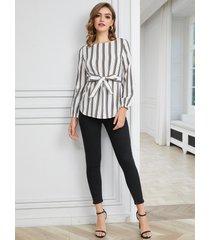 yoins blanco cinturón diseño blusa redonda cuello blusa