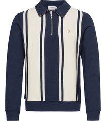 california striped 1/4 zip sweatshirt sweat-shirt tröja blå farah