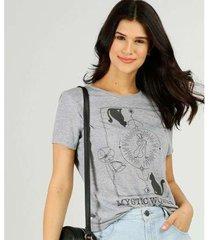 camiseta estampada marisa manga curta feminina - feminino