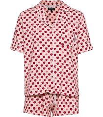dkny spring edit top & boxer pj set pyjamas röd dkny homewear