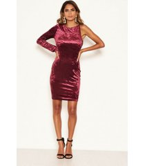 ax paris women's crushed velvet one sleeve dress