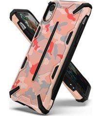estuche protector ringke dual x iphone xr - camuflado rosado