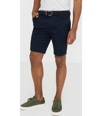 river island smart axis short belted shorts navy