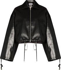 supriya lele cropped coated jacket - black