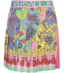 versace jeans couture pleated short skirt w/print in front