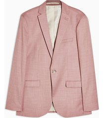 mens pink super skinny fit single breasted suit blazer with notch lapels