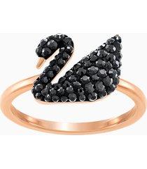 anello swarovski iconic swan, nero, placcato oro rosa