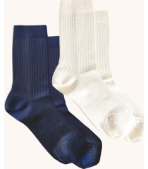 women's comfort silky ribbed crew socks, pack of 2
