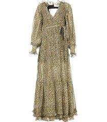 maxi-jurk met split frill  groen