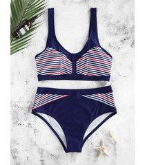 striped wire free high rise bikini swimwear
