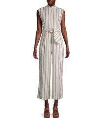 calvin klein women's striped linen-blend cropped jumpsuit - white beige combo - size 2