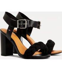 tommy hilfiger women's braided strap heeled sandal black - 6