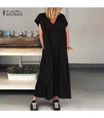 zanzea las mujeres de manga corta con cuello en v vestido del algodón vestidos largos kaftan floja ocasional -negro