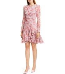 women's giambattista valli rose print long sleeve silk dress