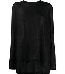 mm6 maison margiela semi-sheer long sleeve t-shirt - black