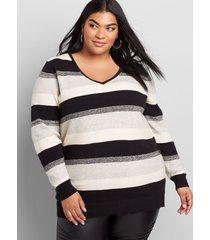 lane bryant women's long-sleeve v-neck sweater 18/20 pink multi stripe
